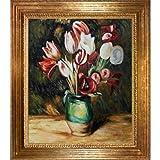 OverstockArt Renoir - Pintura de tulipanes en jarrón con marco de madera de Viena, acabado en hojas de oro