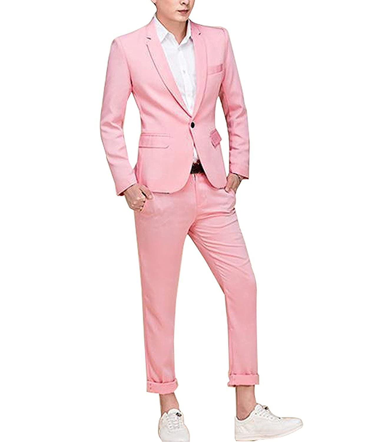 YSMO Men's Pink One Button 2 Piece Tuxedo Blazer Dress Suits