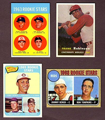 Cincinnati Reds Topps Baseball (4) Card Reprint Rookie Lot w/ Original Backs**1957 Frank Robinson Topps Rookie Card, 1963 Pete Rose Rookie Card, 1965 Tony Perez Topps Rookie Card, 1968 Johnny Bench Topps Rookie Card**