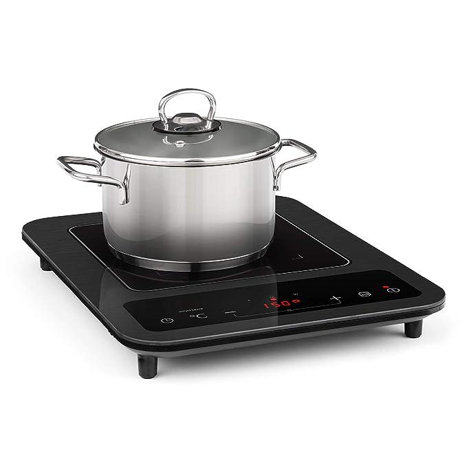 Klarstein SlimChef placa de cocina - Cocina de inducción , 1800 W , 10 niveles de potencia y de temperatura , Pantalla LED , Autoapagado , ...