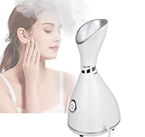 Nano Ionic Facial Steamer,Lumcrissy Steamer for Face,Ionic Hot Mist For Moisturizing Unclogs Pores Clear Blackheads Acne Humidifier for Home Facial Warm Mist Humidifier Steamer for Face