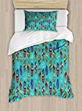 Ambesonne Surfboard Duvet Cover Set Twin Size, Aloha Hawaii Live Free Ocean Water Sports Inspired Pattern Coastal Inspirations, Decorative 2 Piece Bedding Set with 1 Pillow Sham, Multicolor