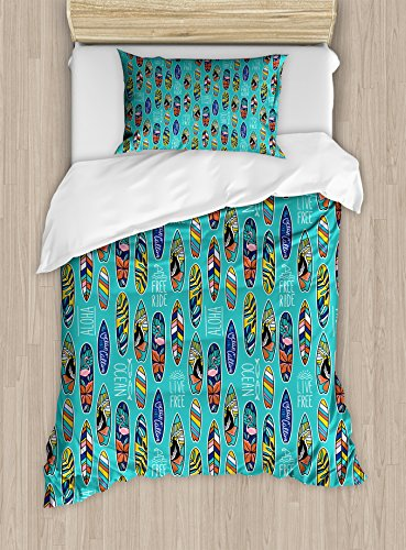 Ambesonne Surfboard Duvet Cover Set Twin Size, Aloha Hawaii Live Free Ocean Water Sports Inspired Pattern Coastal Inspirations, Decorative 2 Piece Bedding Set with 1 Pillow Sham, Multicolor by Ambesonne