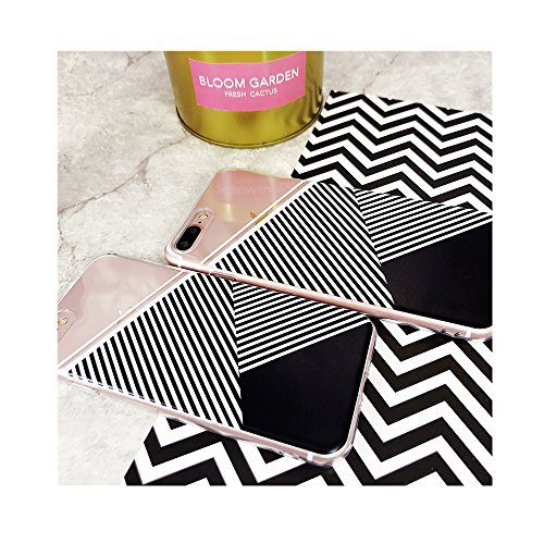 iPhone 8 Case,iPhone 7 Case,Simple Girls Aloha Summer Tropical Abstract Triangle Geometric Graphic Design in Black, White, Gray Stripe Chic Silicone Clear Case Gel Cover for iPhone 7/iPhone 8