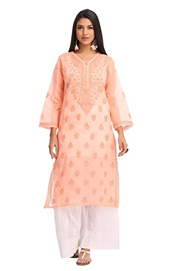 Ada Hand Embroidered Lucknow Chikan Womens Casual Cotton Kurta A231406_peach