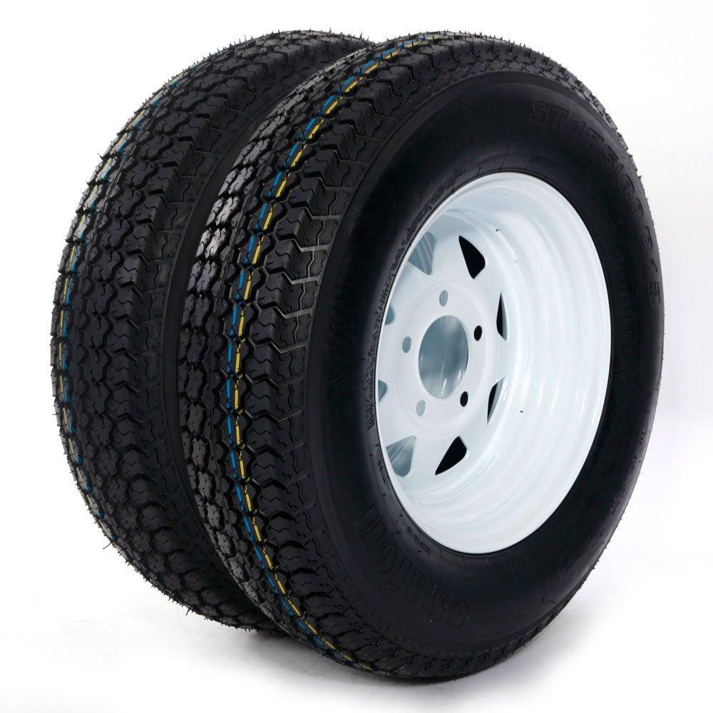 Trailer Tire + Rim ST175/80D13 175/80 D 13'' LRB 5 Bolt Galvanized Spoke, Set of 2