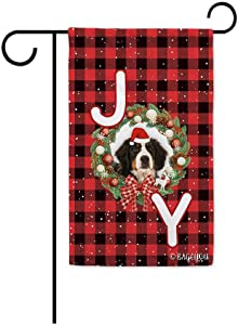 Merry Christmas with My Love Dog Bernese Mountain Dog Red Buffalo Check Plaid Garden Flag Winter Holiday With Joy Snow Holly Wreath Decor Yard Banner for Outside 12.5X18 Inch Printed Double Sided