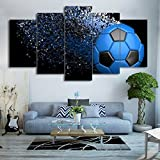 Waterproof Canvas Painting Wall Art Soccer Football Sports Themed Canvas Wall Art for Boys Room Wall Decor Boys Gift Wall Pictures for Living Room & Bedroom, Blue, Framed, size 3