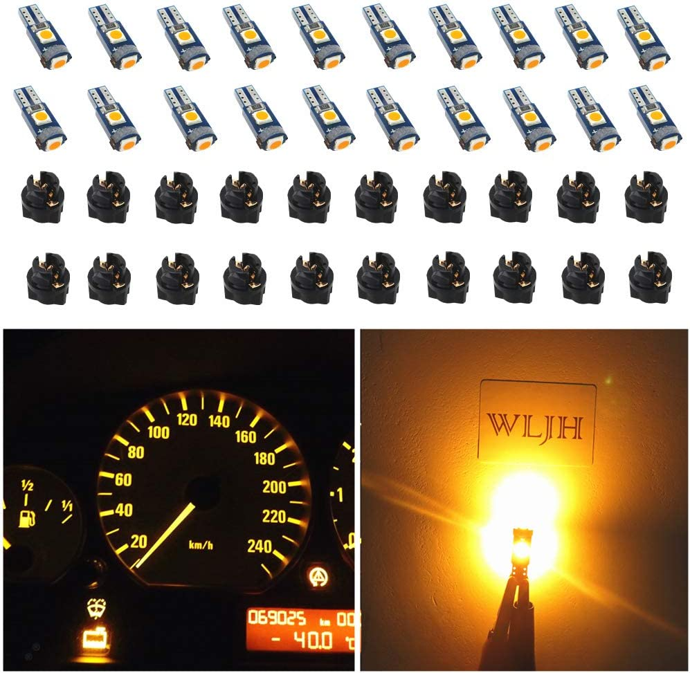 WLJH 74 Led Bulb Dash Lights Super Bright T5 2721 37 286 Wedge PC74 Twist Socket Automotive Instrument Panel Gauge Light Kits Cluster Shift Indicator Bulbs Amber Yellow Pack of 20