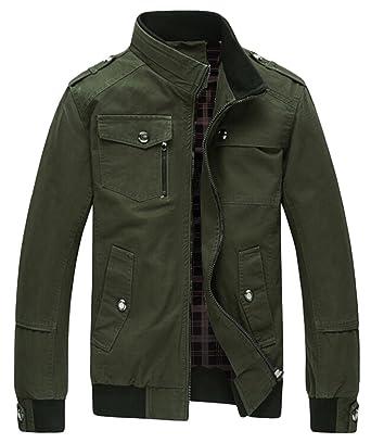 Amazon.com: Wantdo Men's Cotton Stand Collar Windbreaker Jacket ...