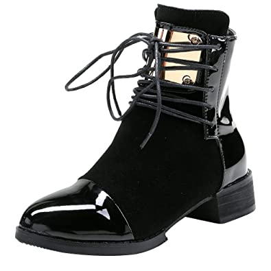 5b6939e4204a OCHENTA Women s Punk Style Back Zipper Low Heel Ankle Booties Black Tag 35  - US 5.5