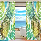 SEULIFE Window Sheer Curtain, Tropical Summer Pineapple Voile Curtain Drapes for Door Kitchen Living Room Bedroom 55x84 inches 2 Panels