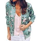 Women Retro Floral Bomber Jacket Zipper Baseball Jacket Long Sleeve Lightweight Outwear Coats For Women