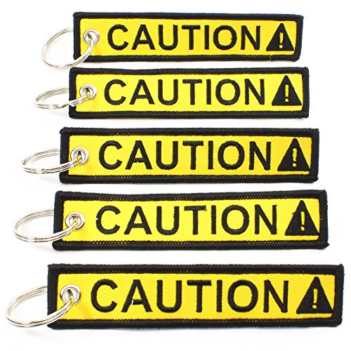 CAUTION Key Chain SAFETY Tag Yellow Black SIZE: 1in by 5in QTY: 5 pack - by Rotary13B1