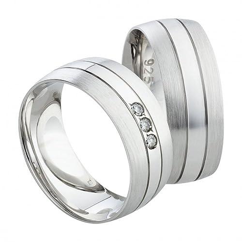 Anillos de Compromiso Partner S1137 con circonita anillos alianzas plata incluye grabado