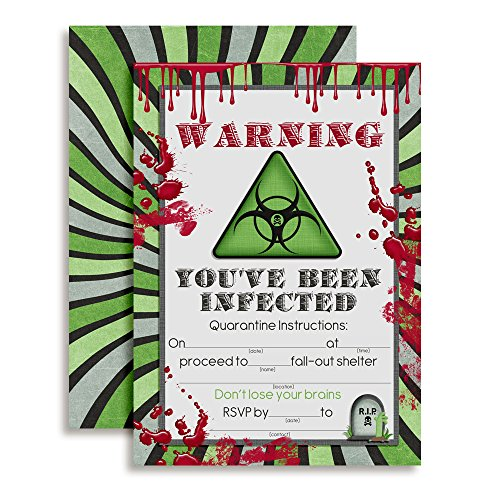 "Zombie Infection Birthday Invitations, 20 5""x7"" Fill in Cards with Twenty White Envelopes by AmandaCreation"