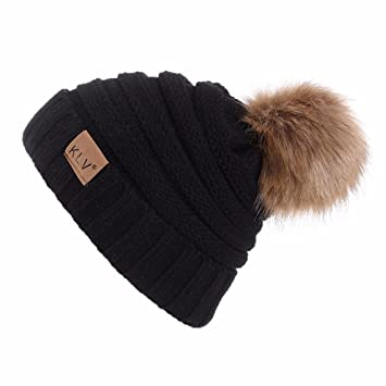 f55f70d01a4 Faux Fur Ball Knitted Hat