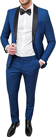 Abiti Da Cerimonia Uomo Blu.Abito Uomo Sartoriale Blu Slim Fit Vestito Smoking Elegante
