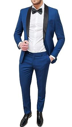 scarpe da skate vendita ufficiale buona reputazione Abito Uomo Sartoriale Blu Slim Fit Vestito Smoking Elegante Cerimonia