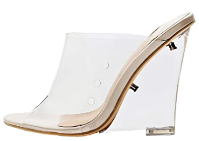 85c2dd9dfe4 Mackin J Women's PVC Lucite Clear Wedge Heel Open Toe Slip On Mule Sandals  Nude
