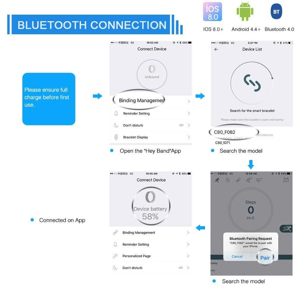 QTEC Reloj Inteligente Bluetooth Reloj Inteligente de Plata ...