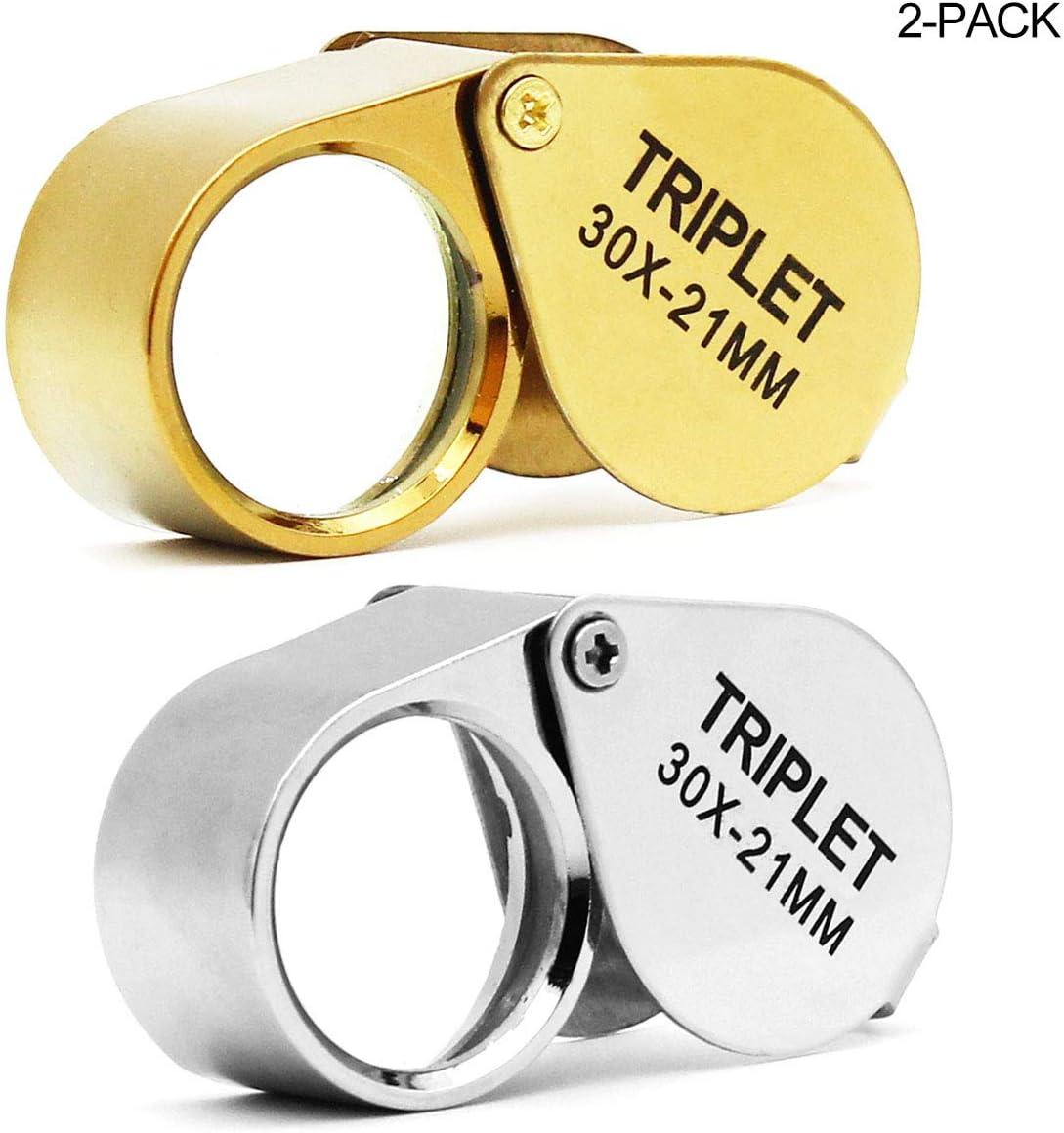 Joyero de bolsillo lupa lupa, lente de cristal 30X Lupa para joyas, monedas, sellos, antigüedades y más (dorado y plata)