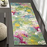 "Safavieh WTC697C-26 Watercolor Collection Green and Fuchsia Runner, 2'2"" x 6"