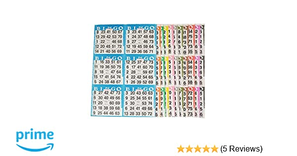 BINGO PAPER  2 ON 5 UP    2 CARDS//SHEET 5 DIFFERENT COLOR SHEETS//BOOK-125 BOOKS