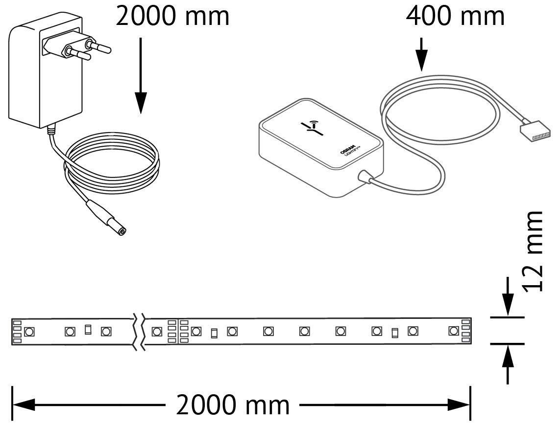 OSRAM LIGHTIFY Flex LED Streifen 2 Meter Länge / Dimmbar / Warmweiß Bis  Tageslicht 2000K   6500K Und Farbsteuerung RGB /Kompatibel Mit Alexa:  Amazon.de: ...