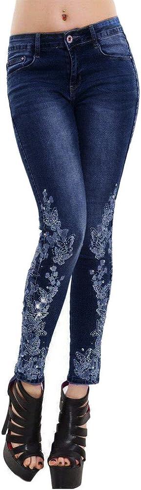 Manadlian-Pantalon Pantalons Femmes Brod/é R/étro Fleur Brod/é Strass Jeans Taille Haute Stretch Slim Leggings Casual Crayon Pants