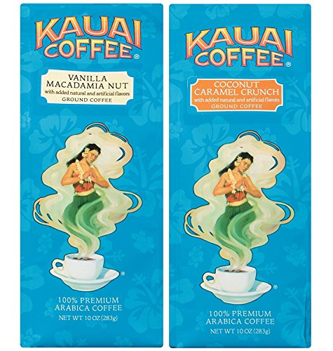 (Kauai Coffee, Variety Pack, Vanilla Macadamia Nut and Coconut Caramel Crunch, Ground Coffee, 10 Ounce Bag (Pack of 2))