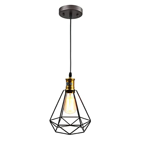 Pauwer Metal Cage Pendant Light Industrial Vintage Edison Hanging Lamp Geometric Shade