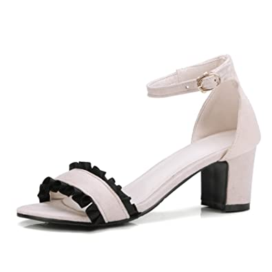 cddfc4e2f55 Women Sandals Size 34-43 Ruffles Ankle Wrap Buckle Strap High Square Heels  Soft Women s