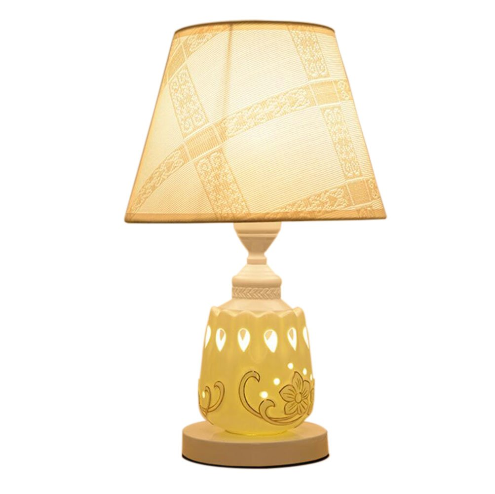 GL&G European modern bedside lamp pastoral wedding home decoration ceramic lamp LED protection eye reading table lamp(5 Colored optional),D,Button switch