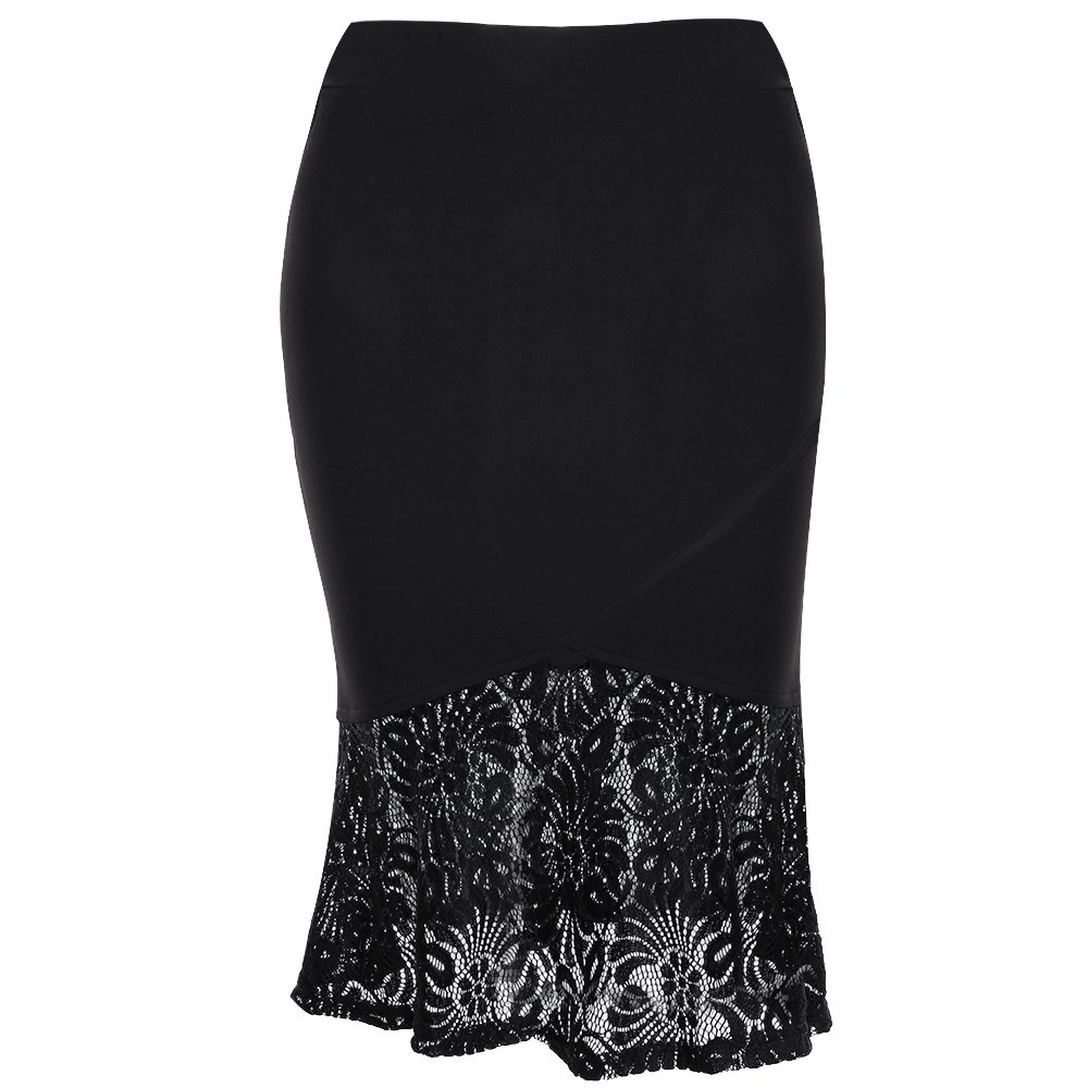 392c94b73c 【Fabric】- The material of this elastic waist pencil skirt is black floral  lace & polyester. Stretchy fabric is soft and easy to wear, feels comfy and  ...