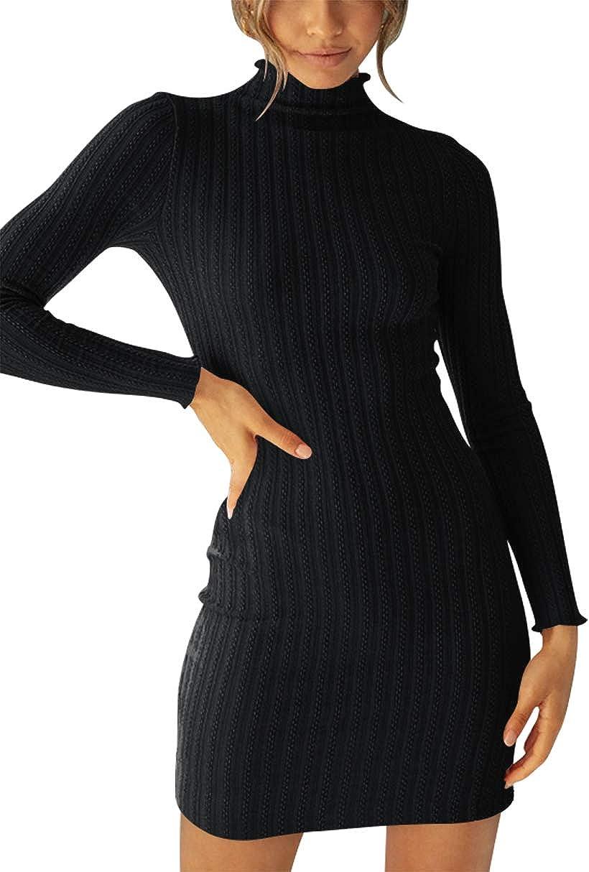 ANRABESS Women Turtleneck Long Sleeve Knit Stretchable Elasticity Slim Sweater Bodycon Mini Sweater Dress
