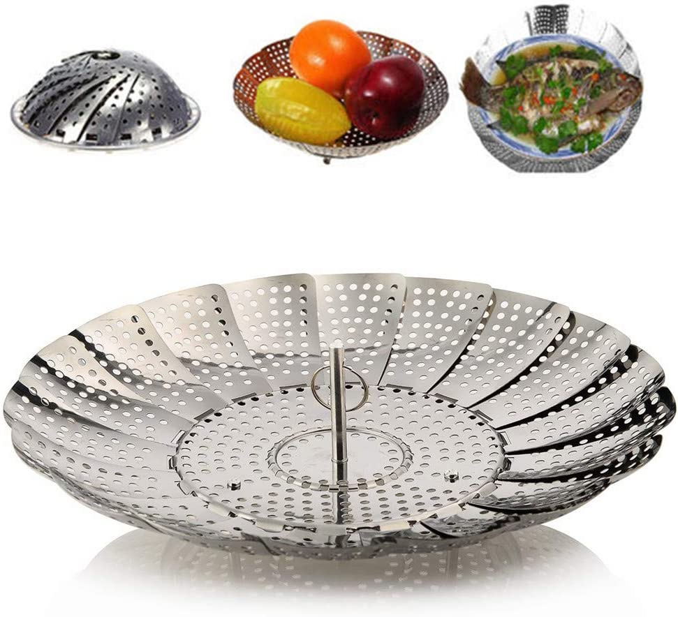 """UPZHIJI Steamer Basket Stainless Steel Vegetable Steamer Basket Folding Steamer Insert for Veggie Fish Seafood Cooking, Expandable to Fit Various Size Pot (5.5"""" to 9"""")"""