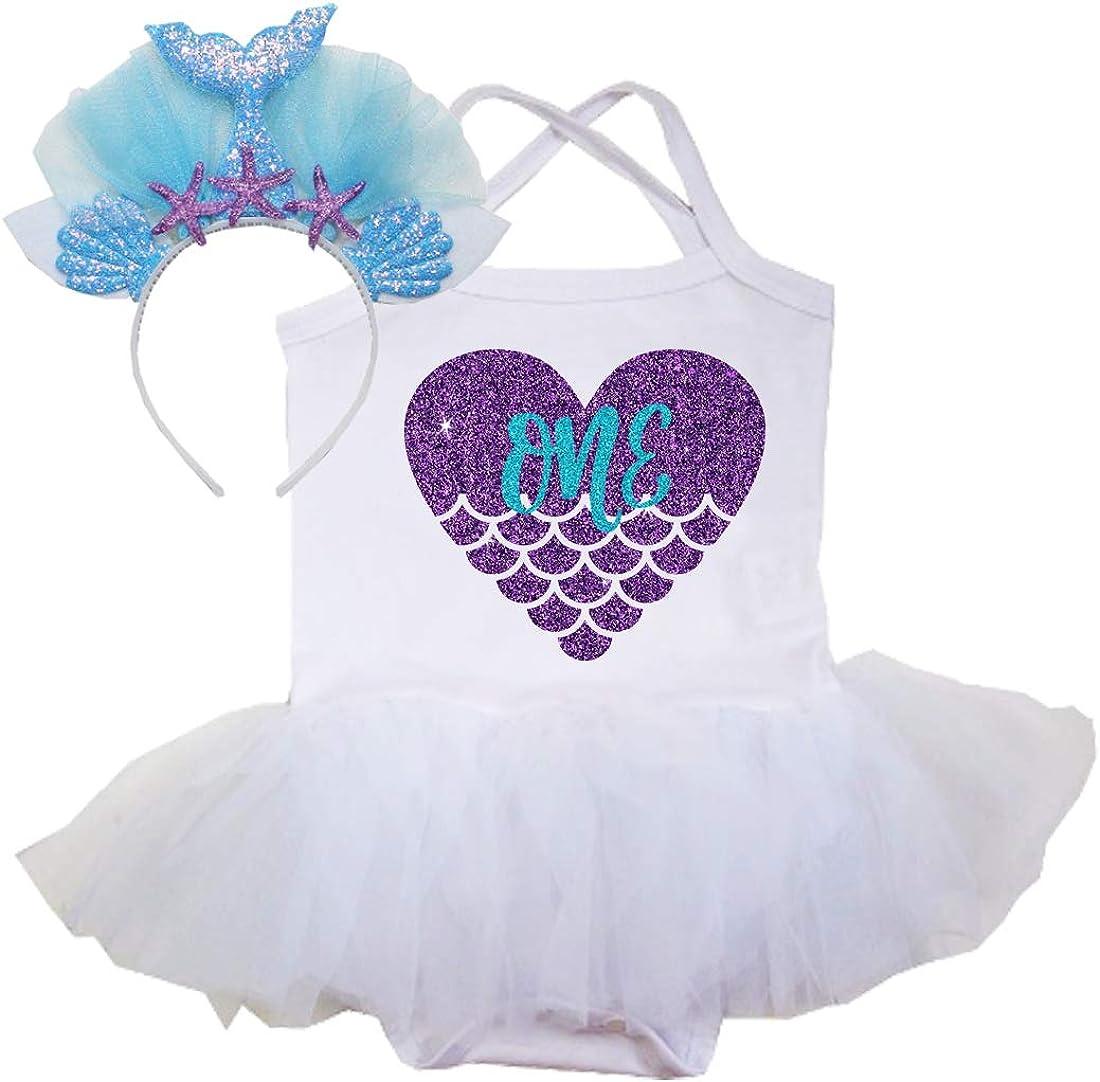 Amazon.com: Glitter 1er cumpleaños niña tutú vestido sirena ...