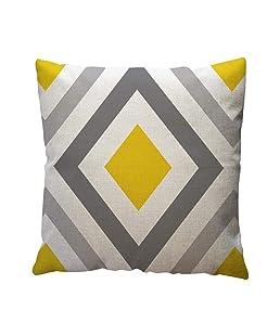 "Sameno 1818"" Pillow Case Yellow Geometric PatternCotton Linen Throw Cushion Cover Home Decor (C)"