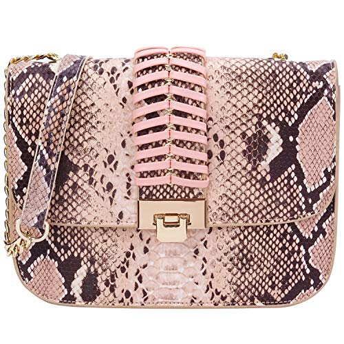 Snake Pink Handbag - PACO TORA Crossbody Bags for Women PU Leather Handbags Snakeskin Pattern Shoulder bag Chain Bags - Urban Safari Collection (Medium, Snakeskin Pattern)