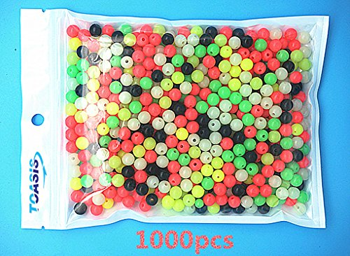 Toasis 1000pcs Colorful Luminous Glow Fishing Beads (6mm)