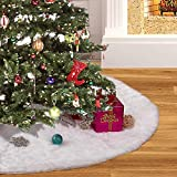 Christmas Tree Skirt (48inches, 4Ft), Luxury White Faux Fur Tree Skirt for Xmas Holiday Decorations, Soft and Warm Pet Favors