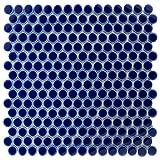 SomerTile FKOMPR43 Penny Porcelain Mosaic Floor and Wall Tile, 12'' x 12.625'', Cobalt Blue