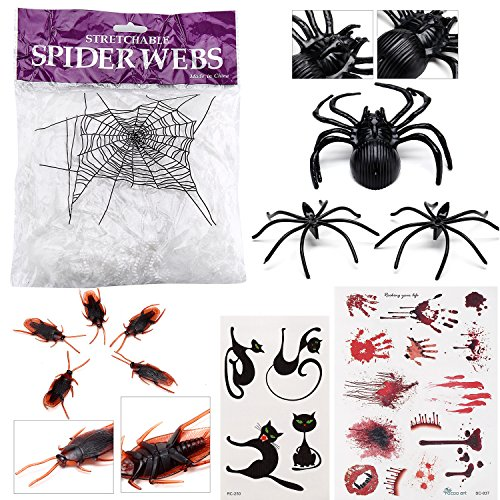 Halloween Decoration Set - White Spider Web (1 Bag), Big Spider (1), Small Spiders (150), Cockroaches (50), Bloody Tat Set (1) and Kitty Tattoo Set (1) ()