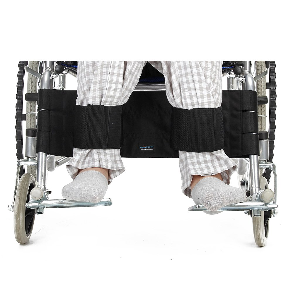 Wheelchair Footrest Leg Strap Seat Belt Medical Restraints Seatbelt Safety Foot Support Lap Belt for Patients, Elderly & Seniors Accessory (Black)