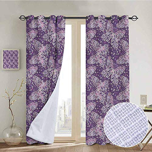 NUOMANAN Bedroom Curtains 2 Panel Sets Butterfly,Abstract Nature Image Lines and Swirls Floral Arrangement Valentines Day,Violet Lilac White,Complete Darkness, Noise Reducing Curtain 100