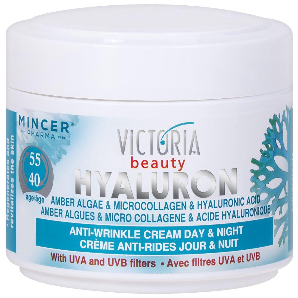 Victoria Beauty - Crème Visage Jour et Nuit - Micro-Collagène & Acide Hyaluronique - Anti-Vieillisement (Age 40+)- Hyaluron et ambre Algues - 50ml BeautyLand