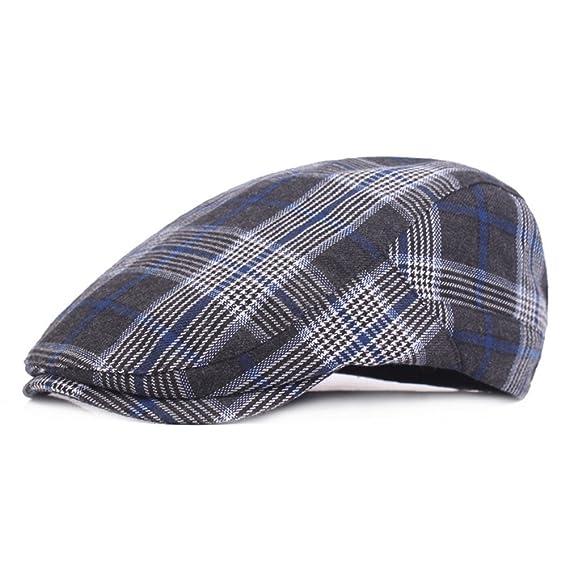 RICHTOER Newsboy Hats Golf Men Peaked Cap Summer Cotton Plaid Flat Driving  (Blue) f73af9fa229