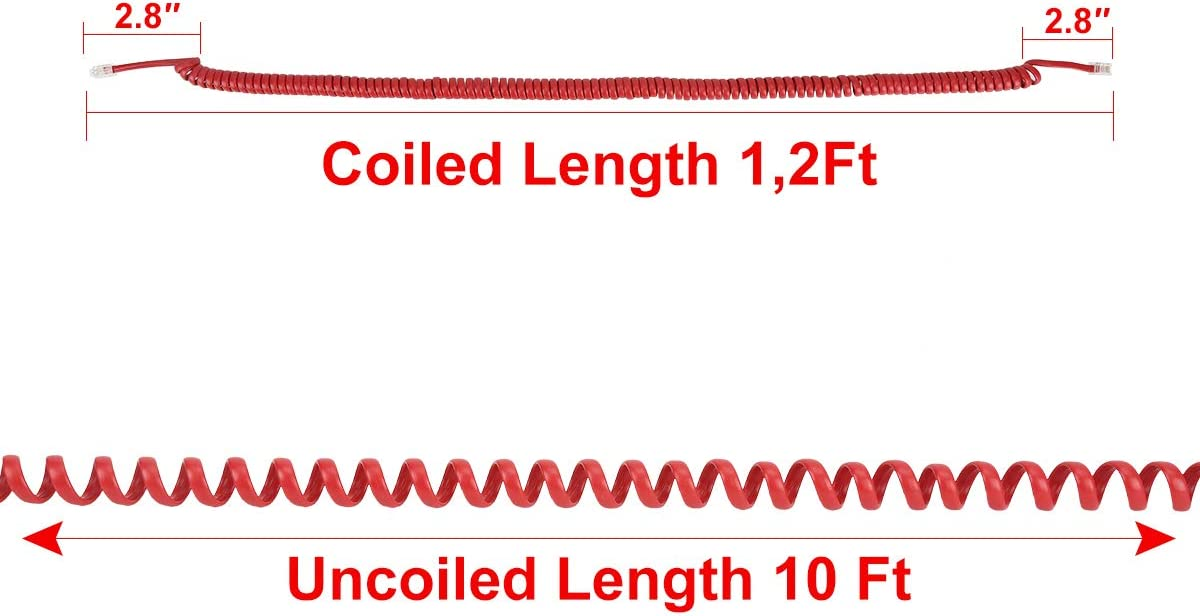 Red,4 PCS Telephone Phone Handset Cable Cord,Uvital Coiled Length 1.56 Feet Landline Phone Handset Cable Cord RJ9//RJ10//RJ22 4P4C