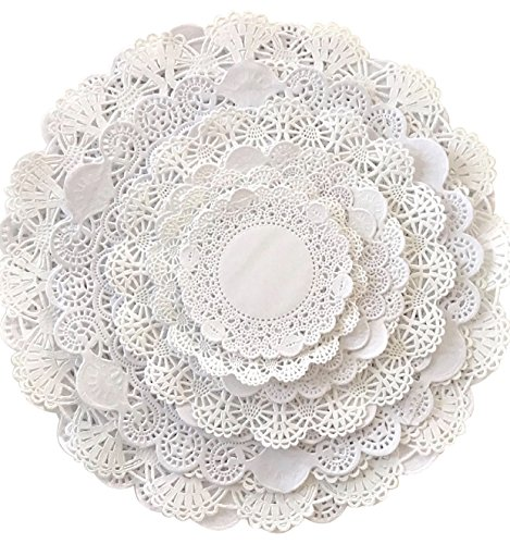 White Round paper Lace Table Doilies 4 5 6 8 10 and 12 inches Assorted Sizes (Variety pack of 120-20 of each)
